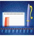 pen and notepad on a jeans background vector image
