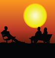 people sitting on the bench in the moonlight vector image