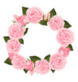 pink rose flower wreath vector image vector image