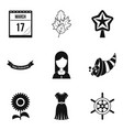 public holiday icons set simple style vector image