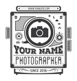 Retro vintage logotype of old camera vector image