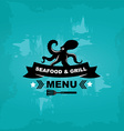 Seafood cafe menu grill template design vector image