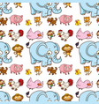 seamless pattern tile cartoon with elephant pig vector image vector image