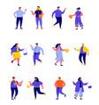 set flat people wearing stylish clothes vector image