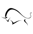 Silhouette of a wild bull vector image vector image