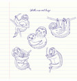 sloths animals sketches hand drawn background vector image