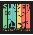 Summer typography with beach icons t-shirt vector image