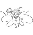 superheroine coming at you line art vector image vector image