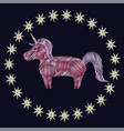 unicorn figure embroidery vector image vector image