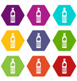 water bottle icons set 9 vector image vector image