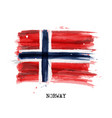 watercolor painting flag norway vector image vector image