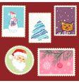 winter postage set vector image vector image