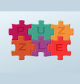 6 bright colorful puzzle pieces vector image vector image