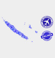 aircraft collage new caledonia islands map vector image vector image