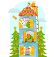 animals enjoying Christmas vector image vector image