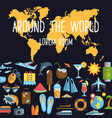 around the world flat poster vector image vector image