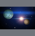 background of space with two unknown planets vector image