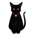 black big-eyed cat - modern cartoon style object vector image