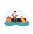 boy sitting on log and playing guitar dog sitting vector image vector image