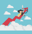 business woman riding success arrow graph up to vector image vector image