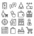 buyer customer and promotion icons set line vector image