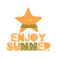 card with lettering enjoy summer wuth starfish vector image vector image