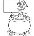 Cartoon explorer in a pot and holding a sign vector image vector image