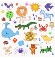 children drawing doodle animals trees vector image