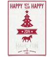 Christmas greeting card with symbols of 2014 vector image vector image