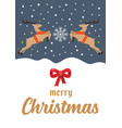 christmas reindeers greeting card poster vector image vector image