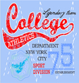 College typography t-shirt graphics vector image