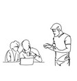 doodle businesspeople on brainstorming meeting vector image vector image