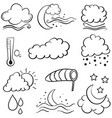doodle of weather set cloud moon star wind vector image