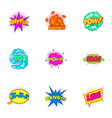 explosive sticker with pop art shadow icons set vector image