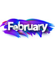 february banner with blue brush strokes vector image vector image