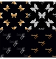 Four seamless pattern with golden butterflies vector image vector image