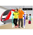 happy couple skiers standing at the train station vector image vector image