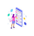 isometric ux app development and holding vector image vector image
