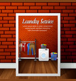 laundry service banner design on brick wall vector image