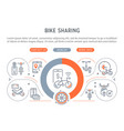 linear banner bike sharing vector image vector image