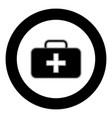 medical case icon black color in circle vector image vector image