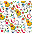 mexican guitar with flowers decoration background vector image