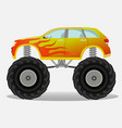 monster car with flame sticker on the side truck vector image