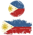 Philippines round and square grunge flags vector image vector image
