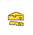 piece of cheese isolated simple sketch pen style vector image vector image