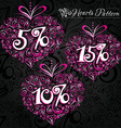 pink heart pattern on black background vector image