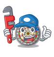 plumber cartoon dartcoard next to wooden table vector image vector image