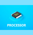 processor isometric icon isolated on color vector image vector image