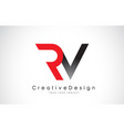 red and black rv r v letter logo design creative vector image vector image
