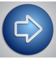round blue right arrow button with paper cut image vector image vector image